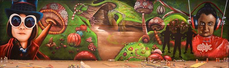 Graffiti Fábrica Chocolate Willy Wonka Decoración Pintura