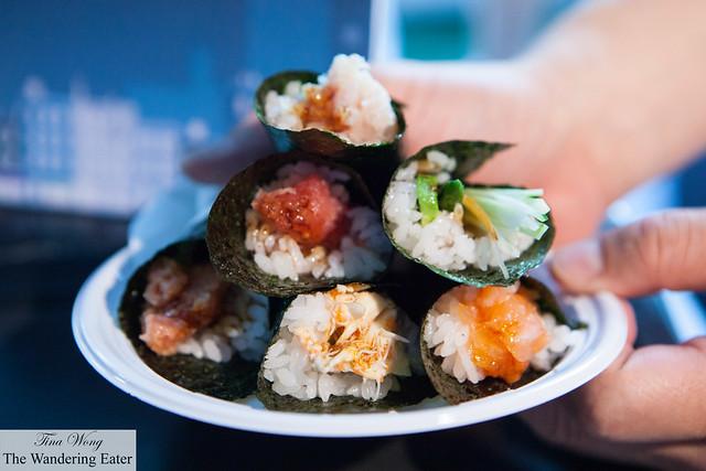 My various temaki rolls at Blue Ribbon Sushi Bar & Grill