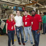 (left to right): Argonne's Kimberly DeClark, GM's Aaron Sullivan, GM's Dan Mehr, and EPA's Arvon Mitcham at General Motors Milford Proving Ground