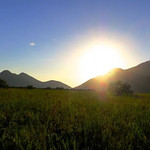 """Mon, 06/02/2014 - 9:29am - The sun rises over the Kusad Mountains as the aquatics team leaves to sampling the Takatu River. Photo by Andrew Short.The """"road"""" to the Takatu River. Photo by Andrew Short"""