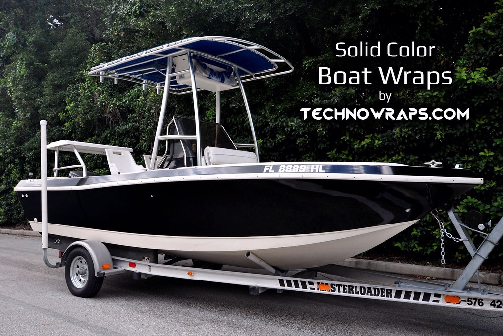 Solid color boat wrap in Orlando, Florida | Boat wrap done i