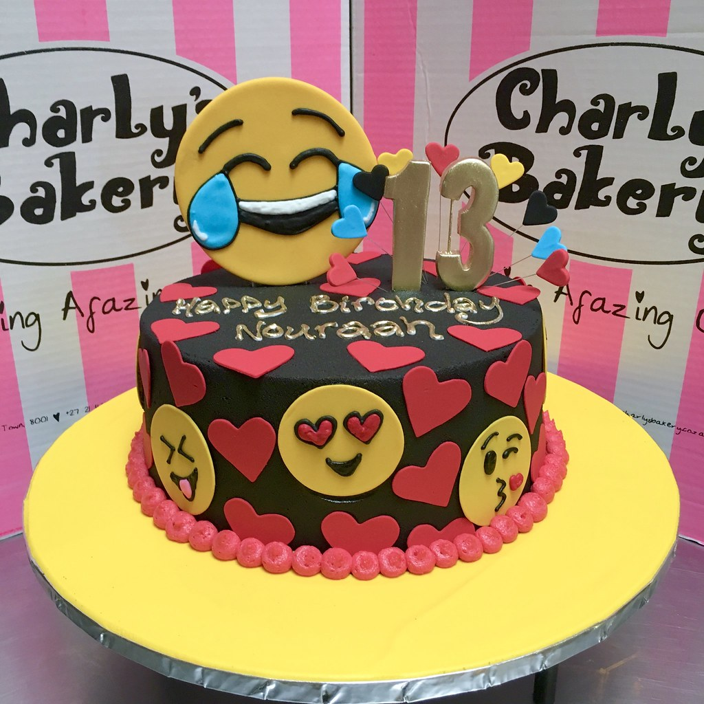 Emoji Themed Single Tier 13th Birthday Cake Iced In Black Chocolate Ganache Icing With Large Laughing
