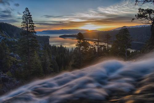 trees lake colors sunrise landscape waterfall stream laketahoe alpinelake emeraldbay eaglefalls