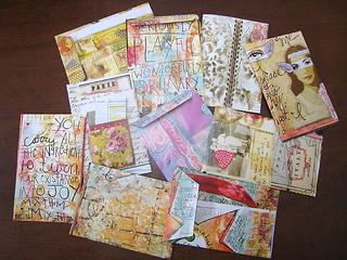 envelopes for doodleswaps made from cut-up journalling and rubber stamp magazines