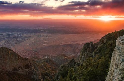sunset sky mountain newmexico clouds landscape desert albuquerque crest nm hdr sandia rockymountians grantcondit