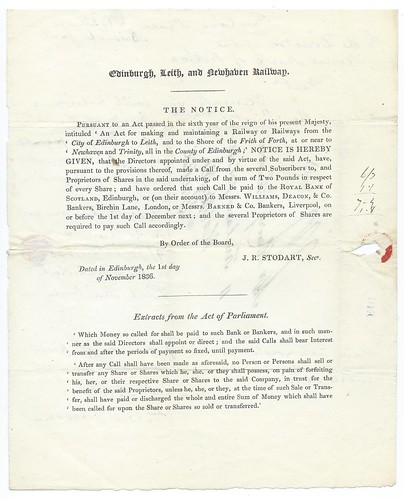 Edinburgh, Leith, and Newhaven Railway first share call 1836   by ian.dinmore