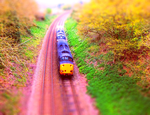 A Model 6L70 Crewe - Sizewell Train, approaching Woodbridge, in the cutting at Broomheath. 11 04 2014 tiltshift