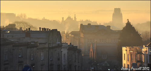 chimney mist architecture buildings bristol december view smoke earlymorning whiteladiesroad blackboyhill willsmemorialtower nikond90 takenfromthetopofabus photographybyjeremyfennell