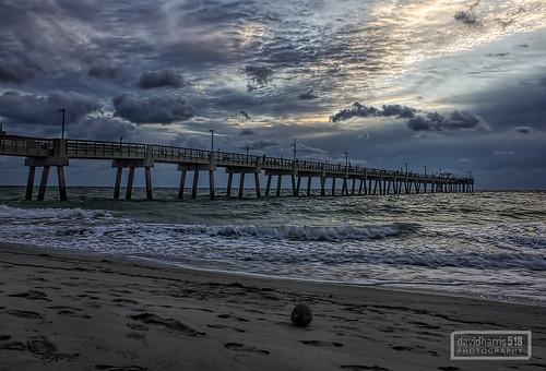 travel nature weather clouds sunrise florida piers beaches oceans daybreak coasts daniabeach