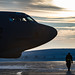 Senior Airman Josh Serafin, a B-52 Stratofortress crew chief with the 5th Aircraft Maintenance Unit, walks around the aircraft he maintains prior to crew startup at Minot Air Force Base, N.D. on January 26, 2017. It is not uncommon for temperatures in Minot to dip below minus 20, making maintenance efforts extremely difficult. (U.S. Air Force photo by Tech. Sgt. Brandon Shapiro)