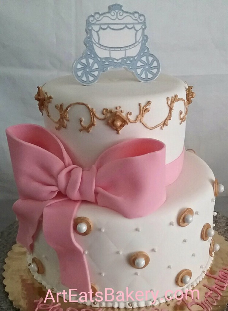 Brilliant Two Tier Custom Fondant Girls Birthday Cake With Gold Pip Flickr Funny Birthday Cards Online Overcheapnameinfo