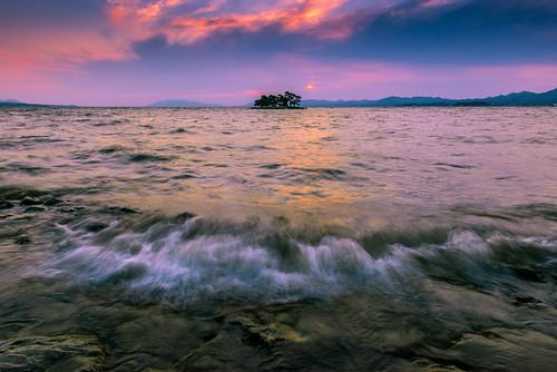 japan sunset sky light wave cloud weather landscape contrast colour bright lake island water nature spring