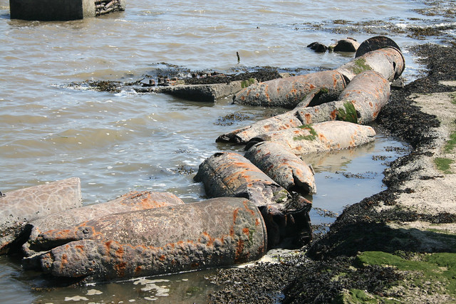 Old military shells at Fishermans Head, Foulness Island
