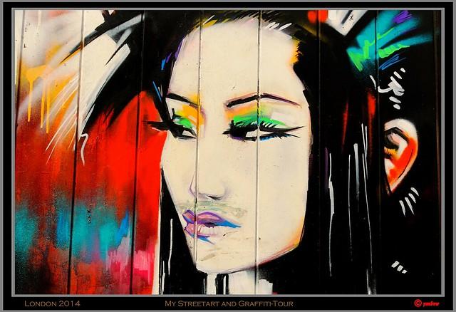"London 2014 - Bricklane: Dan Kitchener -  ""Tokyo Neon"" geisha painting"