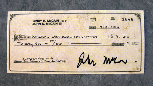 Republican National Committee, John McCain, fake check | by Judith E. Bell