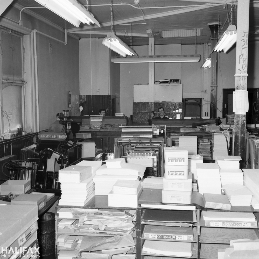 A print shop (possibly Halcraft?), demolished to make way for Scotia Square