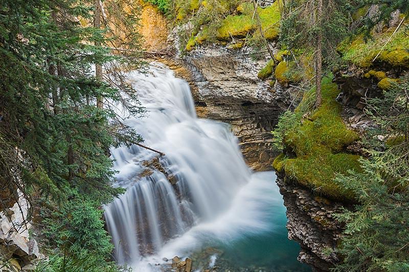 Upper Falls in Johnston Canyon, between Banff and Lake Louise, Alberta, Canada