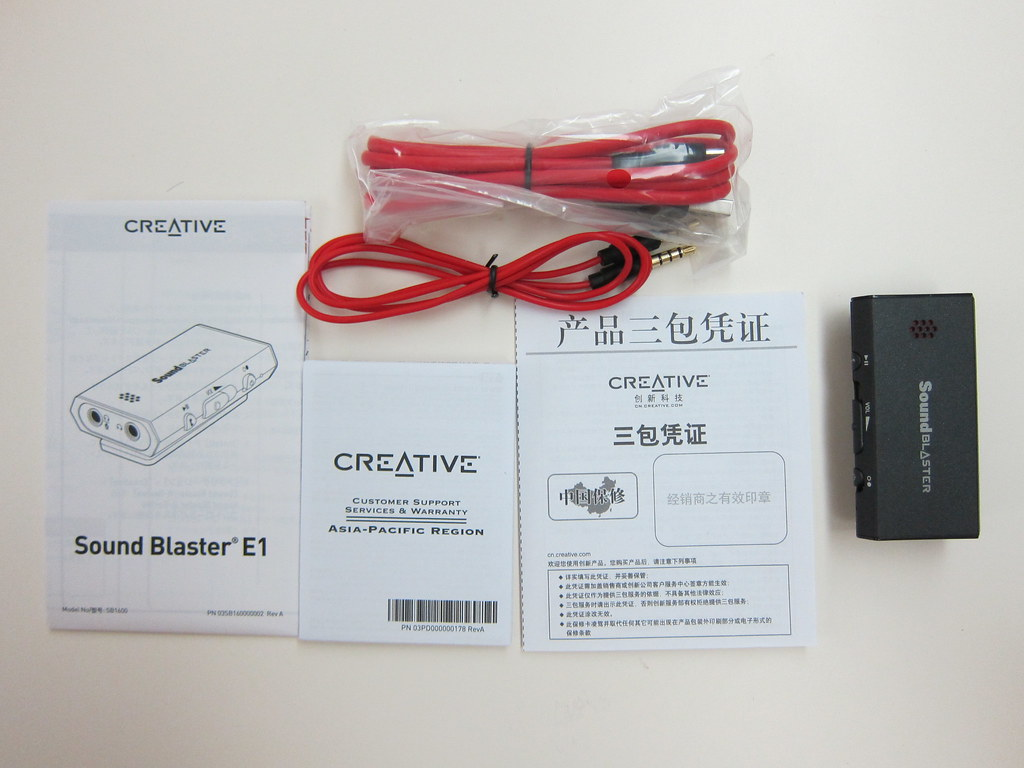 Sound Blaster E1 - Box Contents | Lester Chan | Flickr