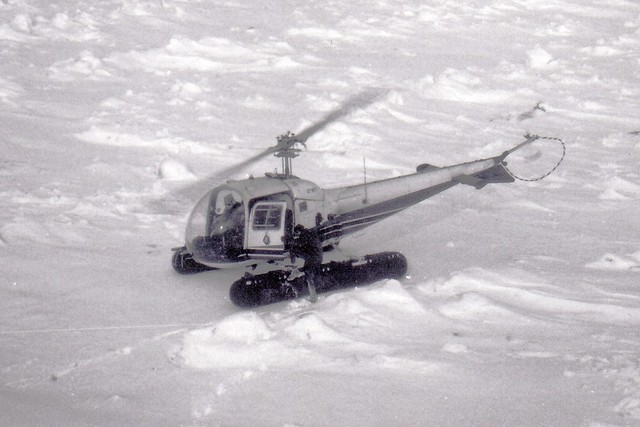 Ontario Hydro Helicopter on Ice Covered Lake Huron, February 1971