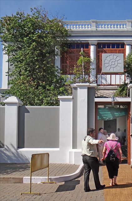 L'entrée de l'Ashram de Sri Aurobindo (Pondichéry, Inde)