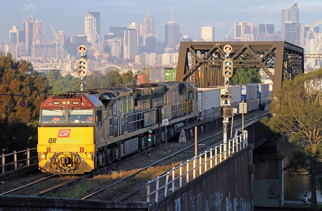 6006-6027 with 6MA6 Aurizon freight to Adelaide at Footscray (30/5/2014) by Bradley Matthews
