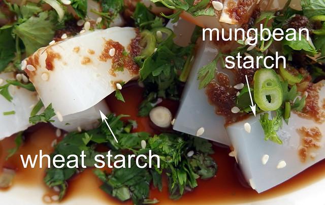 Sichuan koude noedels met mungbonen of tarwe zetmeel