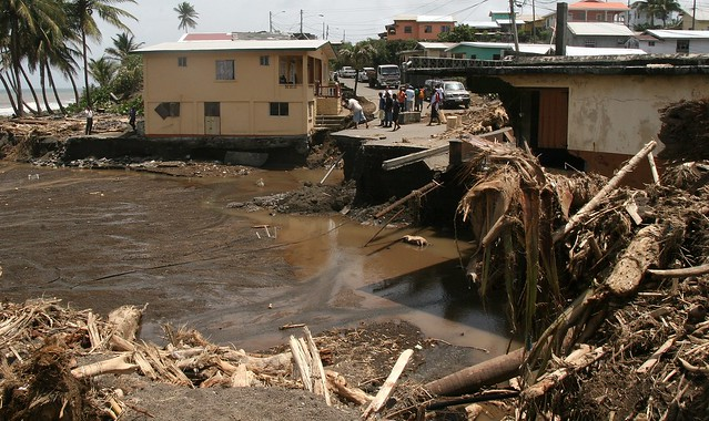 Infrastructural damage in the St. Vincent and the Grenadines town of Georgetown, following the Christmas Eve 2013 storm.