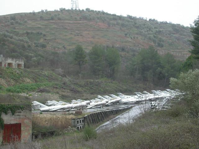 Storage lines of Shenyang & MiG aircraft at Kucove Airbase, Albania (14-03-2013)