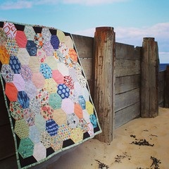 Finished and photographed hexagon quilt