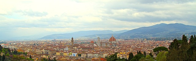 Historical down town of Florence, Tuscany, Italy. View from Abbazia di San Miniato al Monte.