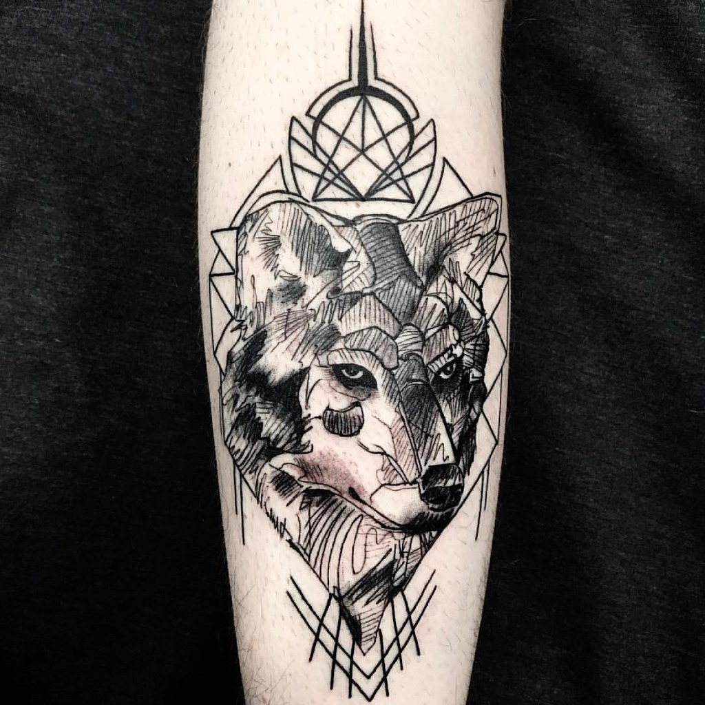 Sketch Wolf Tattoo Trashpolka Geometric Tattoovalenc
