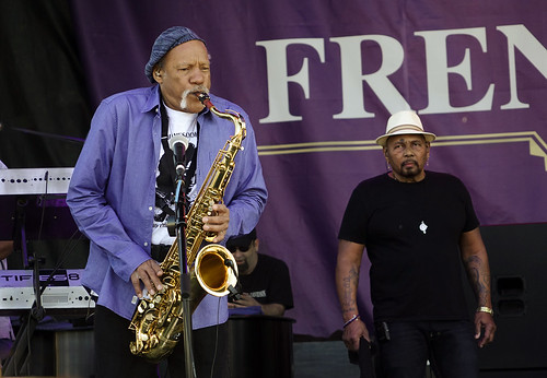 Charles Neville and Aaron Neville at French Quarter Fest 2017. Photo by Charlie Steiner