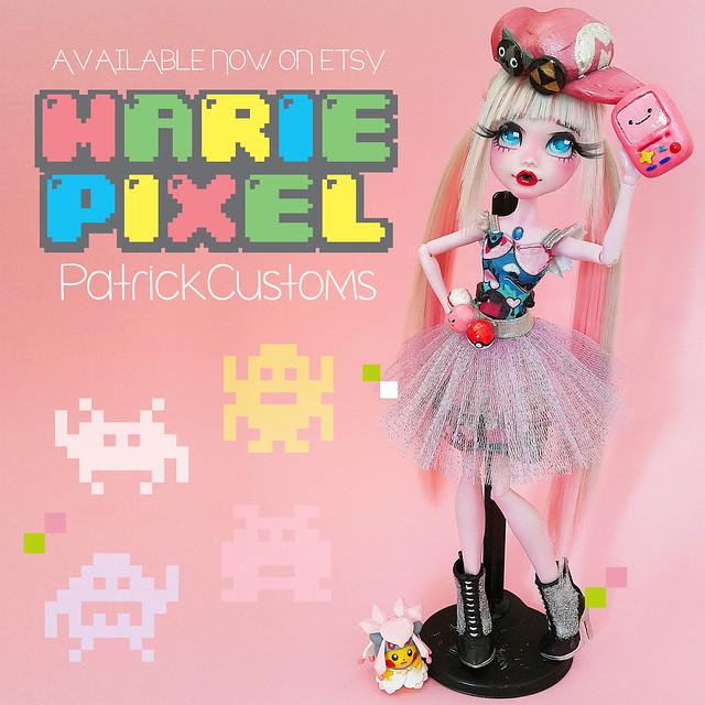 Marie Pixel - Monster High Draculaura OOAK Repaint Custom