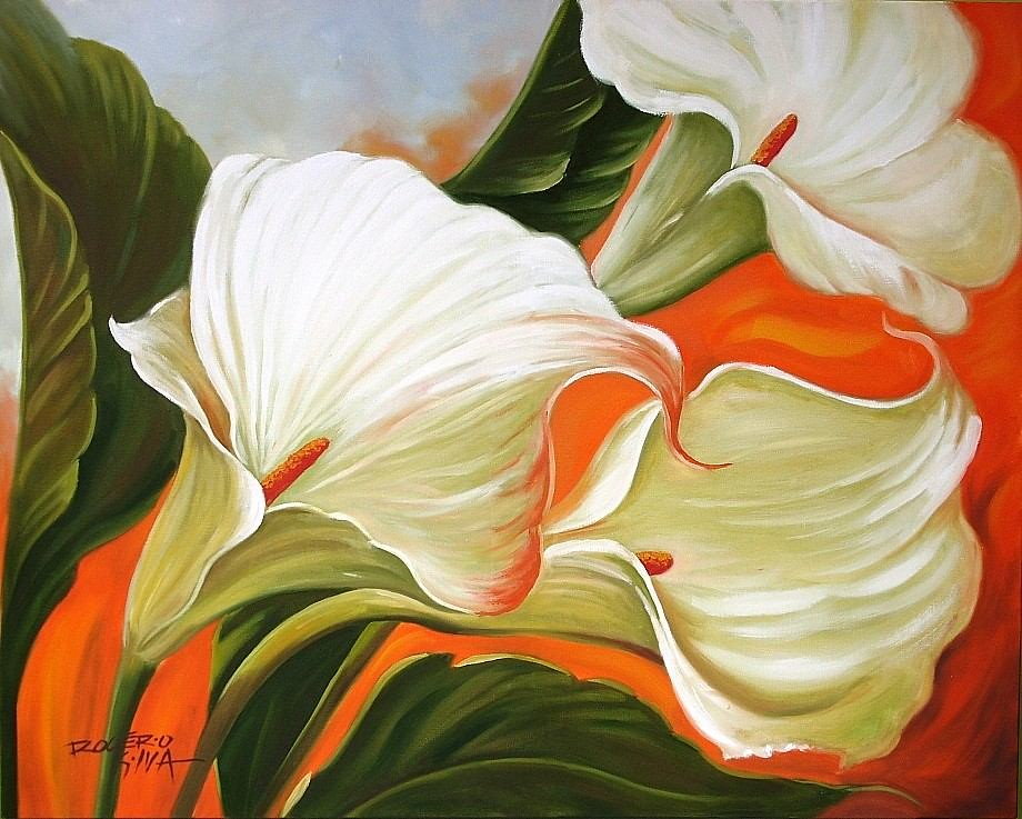 Tela Flores Copos De Leite Pintura Quadro Frete Gratis 147