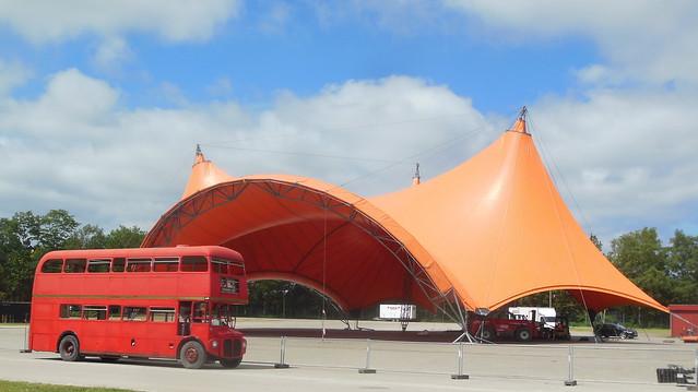 English Cultural icon AEC Routemaster RML2681 meets Danish Kultur ikon Roskilde Orange tent