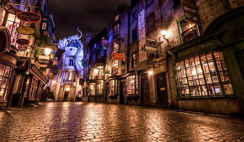 world park travel vacation reflection night landscape one orlando alley nikon moments dragon florida anniversary year harry potter wideangle theme environment universal studios themed hdr pavers uwa diagon d810 wizarding universalmoments