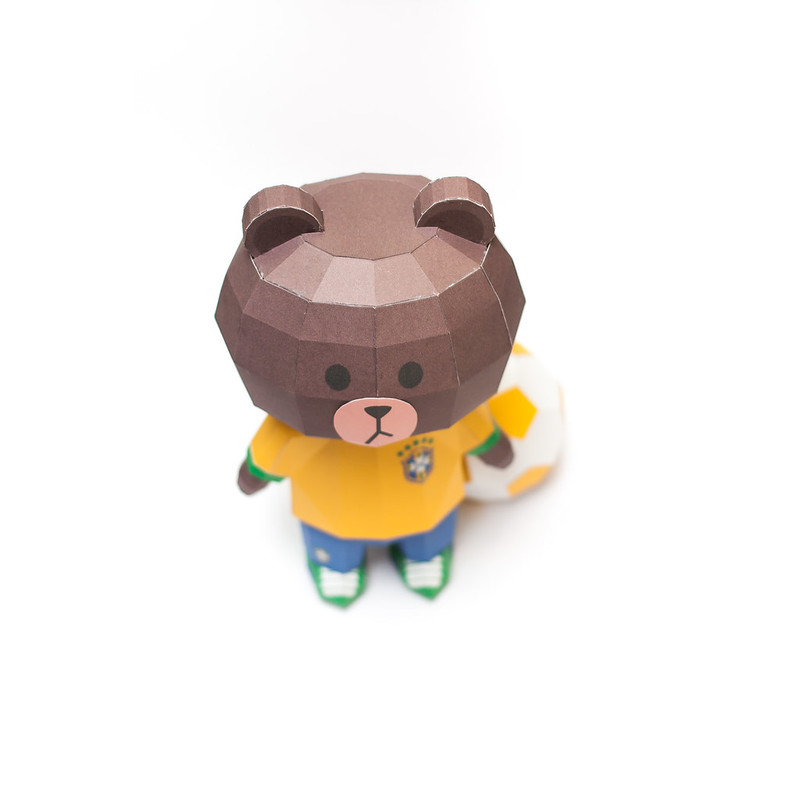 LINE Brown Bear in FIFA World Cup 2014 Brazil Uniform Papercraft Model Finished 001