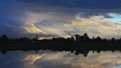 trees sunset newzealand cloud house reflection water rain weather clouds reflections landscape landscapes nelson estuary waimea southisland inlet tasman ilobsterit