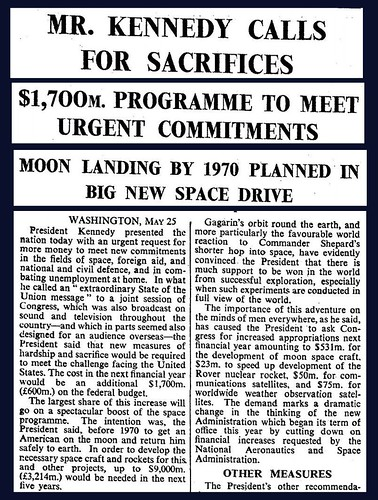 25th May 1961 - President Kennedy announces space programme - a man on the moon before 1970 | by Bradford Timeline