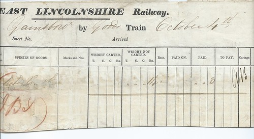 East Lincolnshire Railway Waybill Sibsey to Gainsbro 1880 | by ian.dinmore