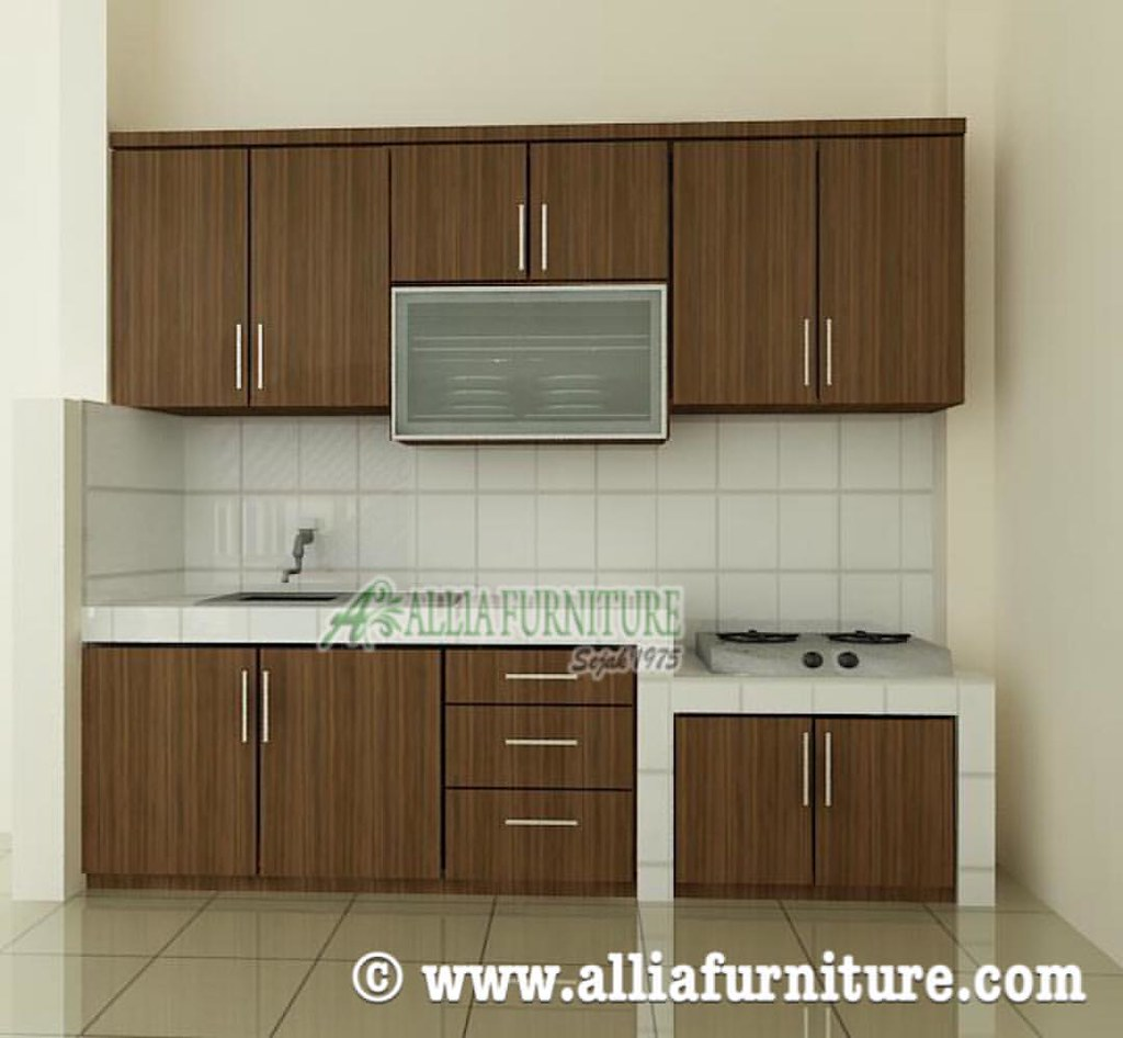 Kitchen set minimalis single line finishing hpl konsep bagi ruang dapur rumah kesan natural di