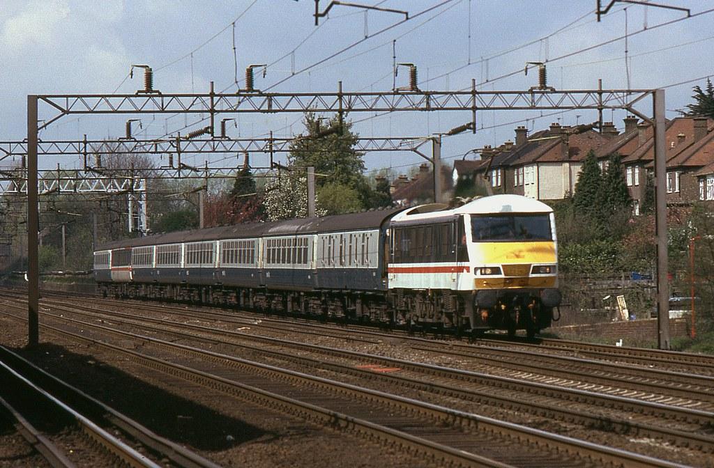 BR Class 90 90019, South Kenton, 13th. April 1989 by Crewcastrian