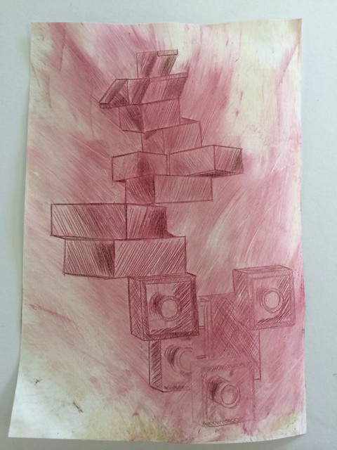 Dry-point red ink print