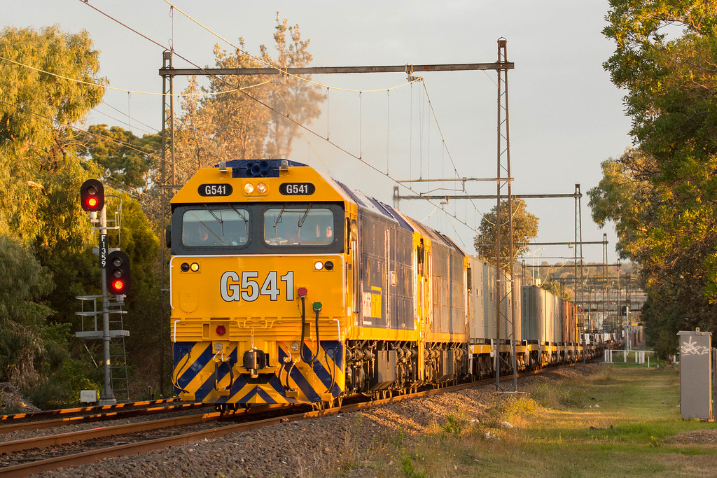 G541-BL29 with #9556 up Long Island goods near Frankston by Luke's Rail Gallery