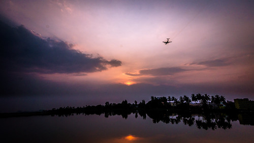 sunset sky india lake reflection water clouds plane earth sony bangalore flight mirrorless varthurlake sonynex3n