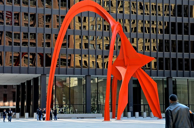 Flamingo, created by noted American artist Alexander Calder.