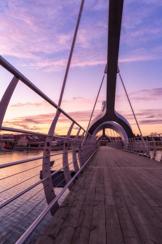 sölvesborg bridge sunset magenta wood metal new pedestrian