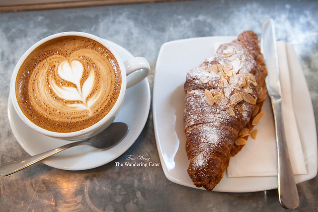 My flat white and almond croissant