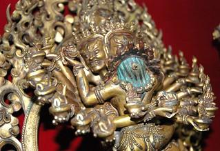 Hevajra and Nairãtmyã Buddhist Tantric deities, closeup top, Boudha, Kathmandu, Nepal