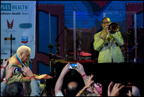 Ellis Marsalis with Delfeayo Marsalis at Piano Night 2014. Photo by Ryan Hodgson-Rigsbee www.rhrphoto.com